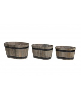 MACETERO MADERA OVAL 28X18,5X15 SET 3