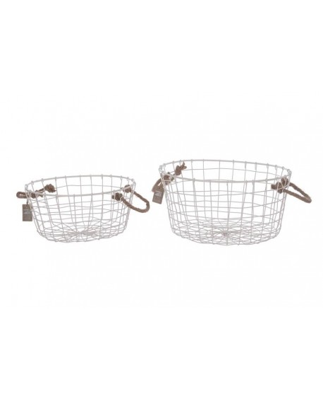 CESTA OVAL METAL BLANCO A/CUERDA SET 2 38x38x19