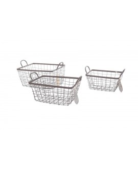 CESTA METAL RECT SET3 42X31.5X19.5