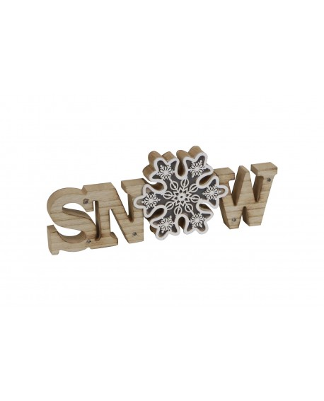 PLACA MADERA SNOW C/LUCES 34.5x13x2.5cm