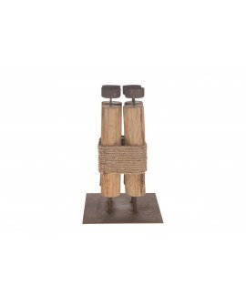 CANDELABRO MADERA METAL 17.5x17.5x28.5cm