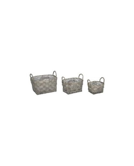 CESTA OVAL SET 3 GRIS