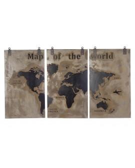 Cuadro mapamundi madera 210x120x4cm