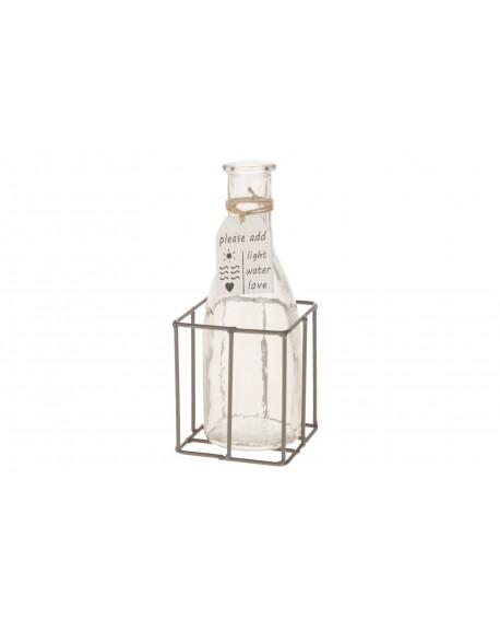 Cesta metal con botella cristal 8x8x9/18cm