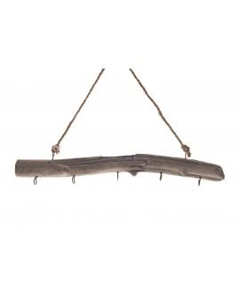 Rama colgar madera antigua 5 ganchos 50x25cm