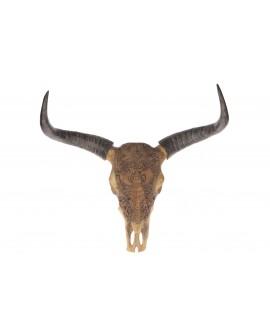 Craneo buffalo poliresina decorado 71x21x72cm kd