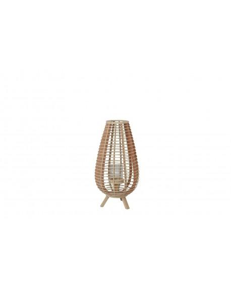 Lamapara cristal pie madera blanca 30x30x58cm