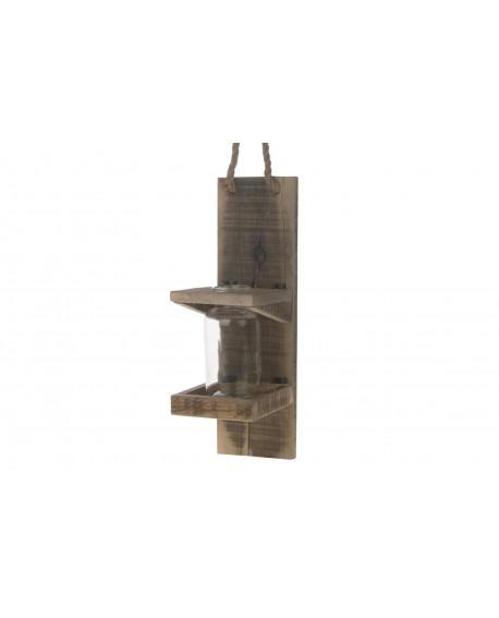 Soporte botella colgante madera 13x16.5x42cm