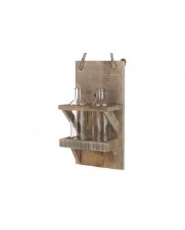 Soporte dos botellas colgante madera  20x14.5x38.5cm