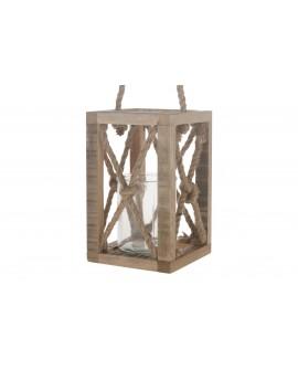 Farolillo madera vintage 15x15x24cm