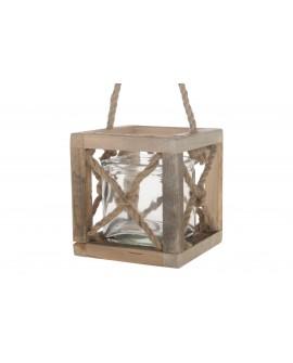 Farolillo madera vintage 17x17x18cm