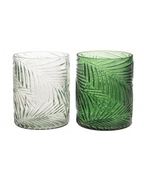 Portavelas cristal patron hoja 10x10x13cm 1pc mix A/2