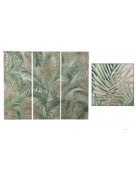 Mural madera hojas talladas 144x3.8x118cm