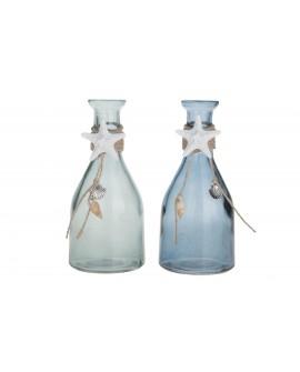 Botella cristal decorada 7.5x7.5x16cm 1pc mix A/2