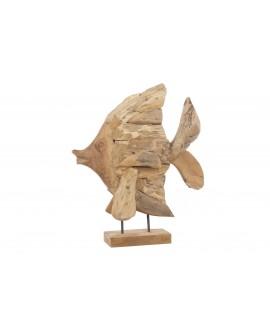 Escultura pez teka 38x12x45cm