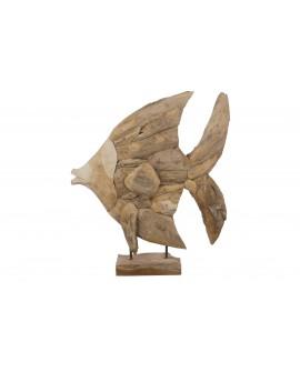 Escultura pez teka 65x15x75cm