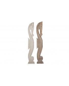 Escultura caballito de mar madera M 14x20x120cm 1pc mix A/2