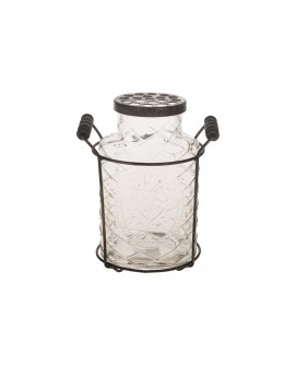 cesta metal con botella cristal y tapa 14x8.5x18cm