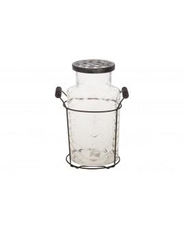 Florero cristal con tapa cesta metal 12x6x15cm