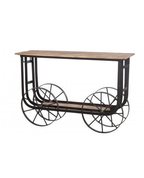 Carro mesa madera vintage 125x40x82cm