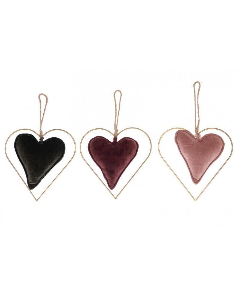 Colgante corazón velvet / metal 20x19cm 1pc