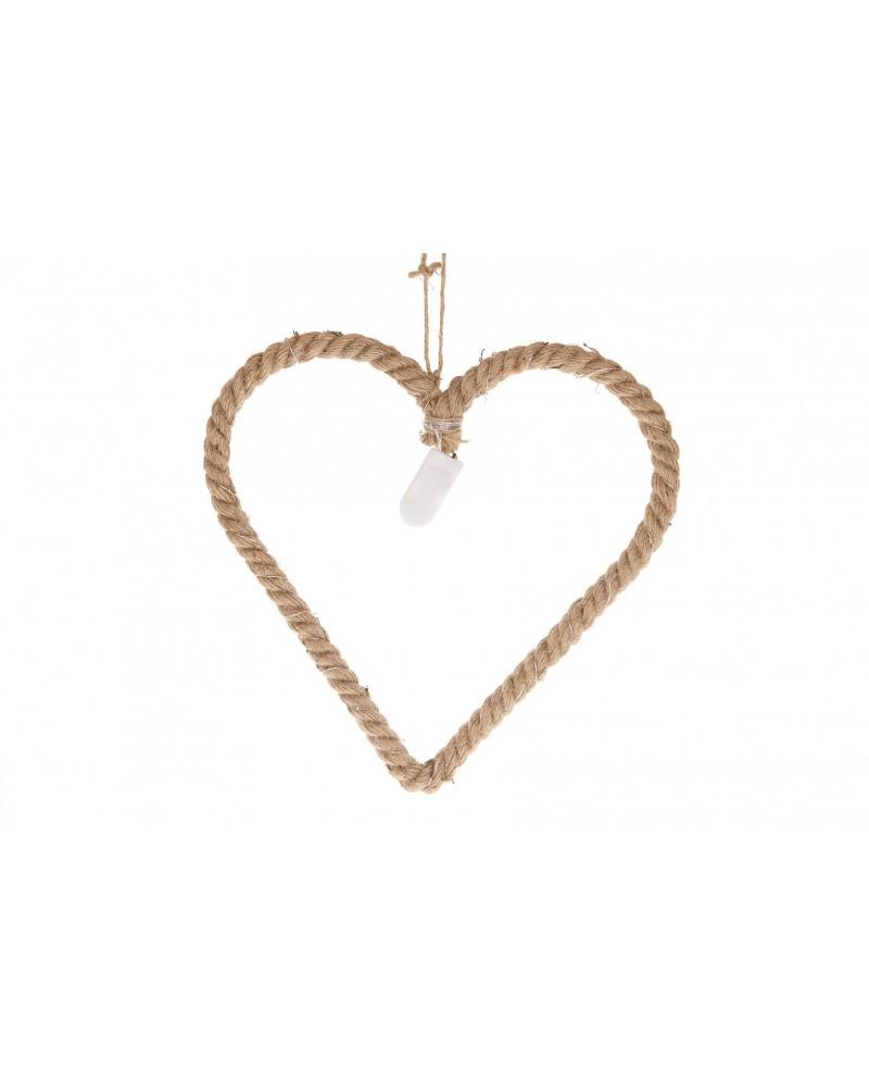 Corazón de cuerda de yute con 15 luces led 30x29cm