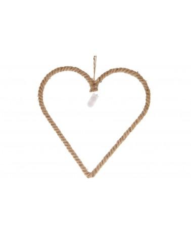Corazón de cuerda de yute con 20 luces led 40x39cm