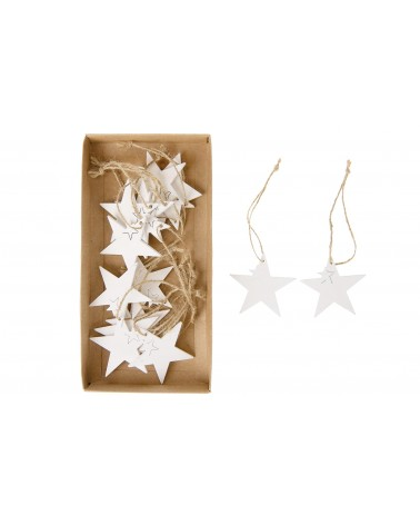 Colgante estrella madera 5cm 15pc