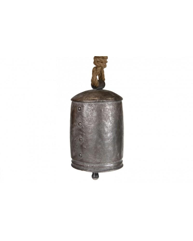 Campana de metal 14x14x23cm plata vieja