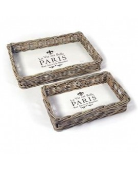 BANDEJAS PARIS RATTAN SET 2 54X37X10